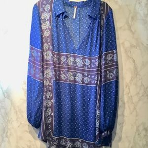 Free people button up floral paisley top size L